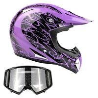Adult Purple ATV Helmet Combo Black Goggles DOT ATV UTV MX Off-Road Dirt-Bike