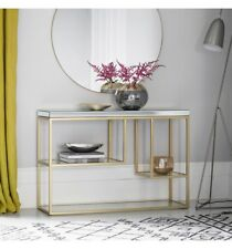 Console Table champagne frame mirror top console storage mirrored hall table