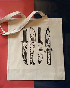 Horror Shopper Tote Bag Cotton Canvas , Horror  Themed Gift