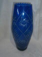 LARGE VINTAGE BOHEMIAN COBALT BLUE CUT TO CLEAR  GLASS VASE