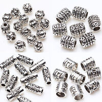 50/100Pcs Tibet Silver Tube Loose Spacer Beads Pendants Charms Jewelry Making