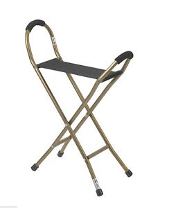 NEW! Drive Medical Folding 2 Lb Quad Seat Walking Cane - Supports 250 Lbs!