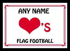 Love Heart Flag Football Personalised Placemat