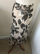 Ivory Green Leaf Print Silk Blend Midi Skirt 12 Jaques Vert
