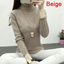 Women Turtleneck Winter Sweater Longsleeve Knitted Sweater Pullover Jumper Top3c Gray