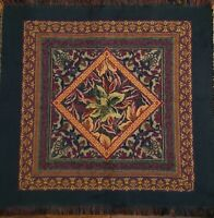 Vintage Woven Tapestry chair Pillow table Cover wall hangin Flower blue burgundy