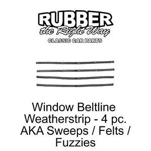 1961 - 1971 Dodge Truck Window Beltline Weatherstrip Sweeps Fuzzies Felts