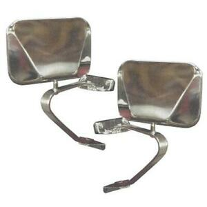 Stainless Fold-Away Side Mirrors, 66-77 / 78-96 Early Ford Bronco, Pair