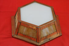 Antique Arts & Crafts Ceiling Fixture Light Copper Frame Slag Glass Paneles