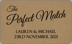 The Perfect Match Wedding Stickers Personalised Imitation Kraft Favour Labels