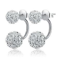 Silver Shambhala Disco Ball Swarovski Element Crystal Stud Earrings Gift
