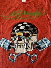 Ed Hardy By Christian Audigier Skull T Shirt Flaming Large USA