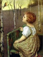 """SPRING SONG"" VINTAGE BLIND GIRL ROBIN BIRD GLUCKLICH *CANVAS* ART PRINT - LARGE"