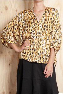 NWT Mela Purdie Liquorice Leopard Verandah T Top 18 2X (fit 20) RRP $355