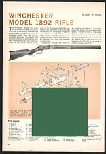 1965 WINCHESTER Model 1892 Rifle Exploded View Parts List 2-pg Assembly Article