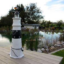 LEUCHTTURM KAMPEN SYLT 120 cm schwarz weiß DOPPELLICHT Garten Deko Figur NORDSEE