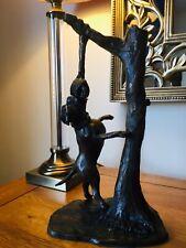 American Bulldog Figurine - Tree Swing - Statue / Bronze / Bite Sleeve / HP