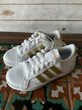 NEW! ADIDAS Performance Girls Baseline Sneakers White /Gold  - Size 12