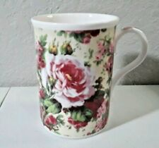 CROWN TRENT FINE BONE CHINA MUG WITH PINK FLOWERS MADE IN ENGLAND