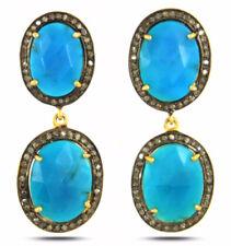 2.25ct Rose Cut Diamond Turquoise Victorian Look 925 Silver Dangler Earring