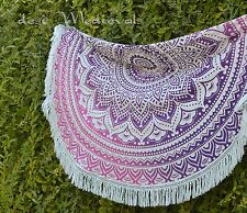 Mandala Floral Ombre Purple Pink Round Beach Throw Roundie Tapestry Hippy Sheet
