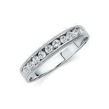 14k Solid White Gold 4mm Round Cut Diamond Milgrain Men's Wedding Band Ring