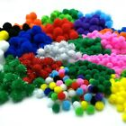 Craft Pom Poms Size 8 15 20 & 25mm 13 Colours or Assorted 50 to 500 Pompoms