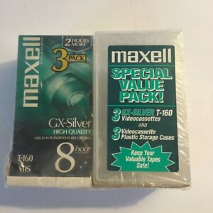 Unique Maxell High Quality T-160 GX-Silver 8 hours BLANK VHS Video 3