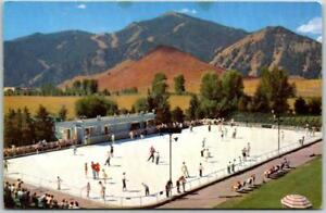 """1950s Union Pacific Railroad Postcard SUN VALLEY """"Olympic Size Skating Rink"""""""