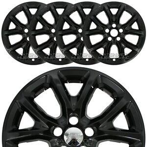 "4 fits Jeep Cherokee 2014-2018 BLACK 17"" Wheel Skins Hub Caps Snap On Rim Covers"