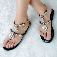 Rhinestone Flats Flip Flops Womens Casual Straps Summer Party Sandals Shoes Size