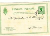 Danish West Indies MESSAGE Postal Card-Sc#UY9m-CHRISTIANSTED 28/1/1911-to