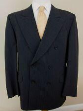 Fendi Blazer 42R Blue Gray Pinstripe Double Breasted Peak Lapel Made Italy Mens