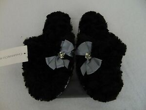 Charter Club Sculpted Pile Bow Scuff Slippers Small, 5-6 Deep Black #2351