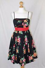 BNWT Eucalyptus Black Pink Red Floral Swing 50's Vintage Style Tea Dress size 10