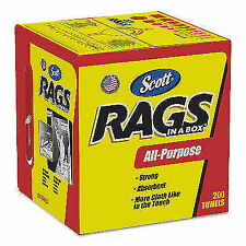SCOTT Rags in A Box Shop Towels, White - 200 Pack