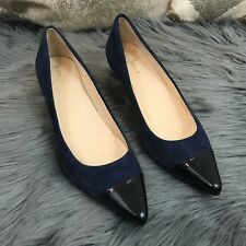 Cole Haan Navy suede patent leather cap pointy toe Kitten heel Pumps Juliana Air