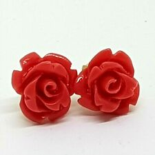 Solid Gold 14K 585 Red Coral Carved Rose Studs Earrings