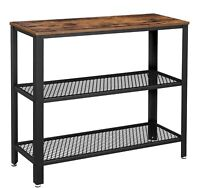 Industrial Side Table 3-Tier Mesh Shelves End Table for Living Room Hallway
