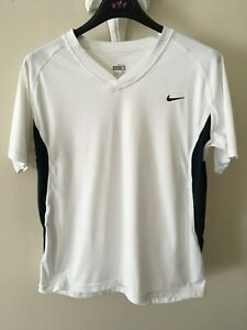 NIKE  Dri-Fit   White & Black   Fitness T Shirt  /   Cycling Top   Medium