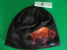 MENS PATAGONIA KNIT BEANIE HAT BUFFALO INTERIOR LINED BROWN NEW