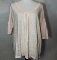AG Adriano Goldschmied Women's Short Sleeve Top 100% Linen SZ L Pink Sheer NWT