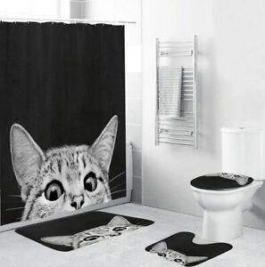 Kitten Shower Curtain Bathroom Rug Set Thick Bath Mat Non-Slip Toilet Lid Cover