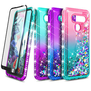 For LG Q70 Case Liquid Glitter Bling Phone Cover + Tempered Glass Protector