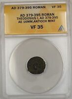 379-395 AD Roman Theodosius I Antioch Mint Bronze Ancient Coin AE ANACS VF 35