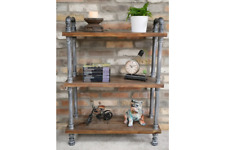 Retro Industrial Pipe Shelf Standing Display Shelving Unit With 3 Shelves