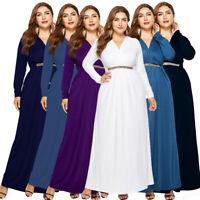 Women Loose V-Neck Tunic Long Maxi Dress Evening Party Plus Size Prom Dresses