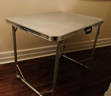 Rare! Vintage Fold up Card Game Desk Table 35x35 ALUMINUM MCM Camping SOLID TOP