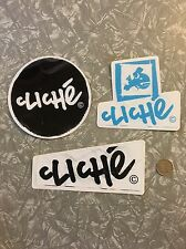 Cliche Skateboard Stickers x 3 : Mixed Lot (all Official - LARGE) New!