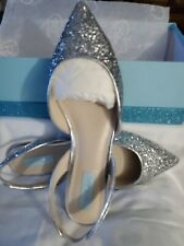 Betsy Johnson Glitter Silver Slippers Party Wedding Sling Back Close Toe Dress
